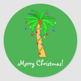 Palm Tree Decorated for Christmas Classic Round Sticker
