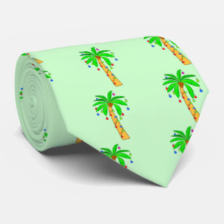 Palm Tree Decorated for Christmas Neck Tie