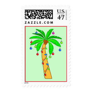Palm Tree Decorated for Christmas Postage