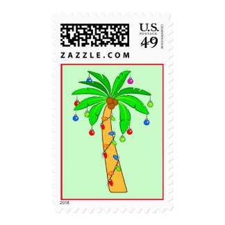 Palm Tree Decorated for Christmas Stamp