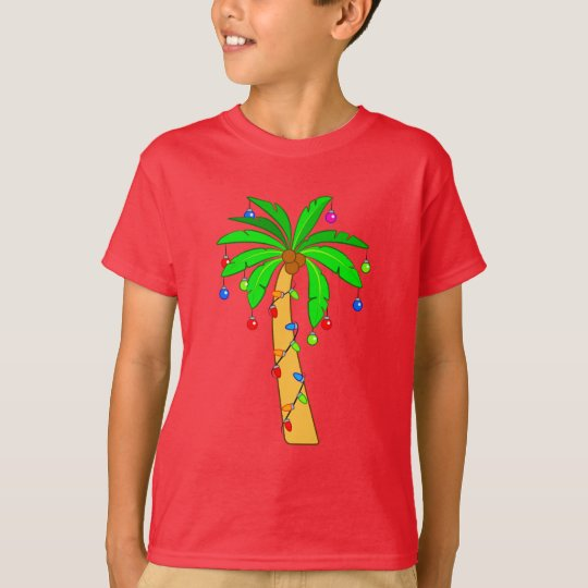 Palm Tree Decorated for Christmas T-Shirt | Zazzle.com