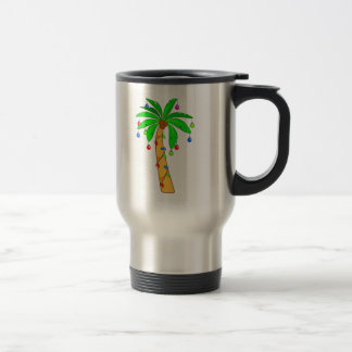 Palm Tree Decorated for Christmas Travel Mug