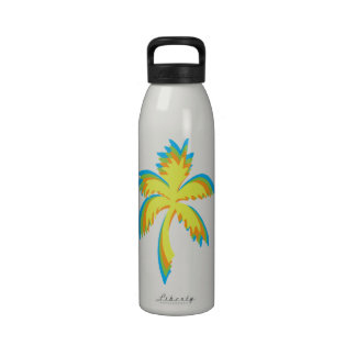palm tree design in pop art colors reusable water bottles