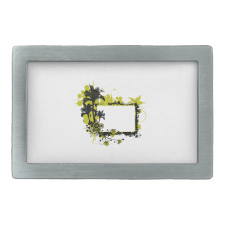 Palm tree frame yellow and black belt buckle