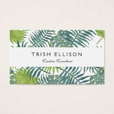 Beach Themed Palm Tree Fronds Painting Art Drawing Illustration Business Card