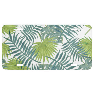 Palm Tree Fronds Painting Art Drawing Illustration License Plate