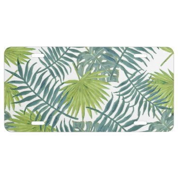 Beach Themed Palm Tree Fronds Painting Art Drawing Illustration License Plate