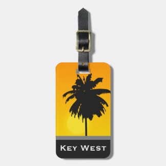 Palm Tree Golden Sunset Key West Word Custom Luggage Tags
