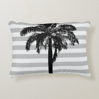 Palm Tree Gray Striped Tropical Exotic Designer Accent Pillow