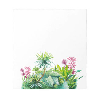 Palm tree, green, red leaves nature notepad