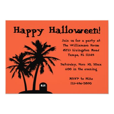Beach Themed Palm Tree Halloween Party Invitations