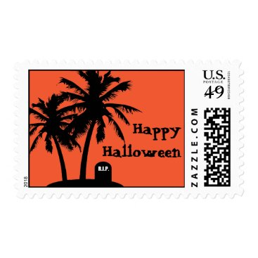 Beach Themed Palm Tree Halloween Party Postage Stamps