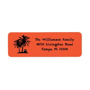 Beach Themed Palm Tree Halloween Return Address Labels