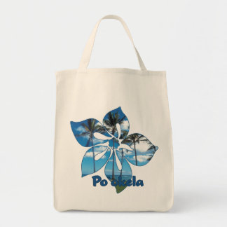 """""""Palm Tree Hibiscus"""" Grocery Tote Canvas Bag"""