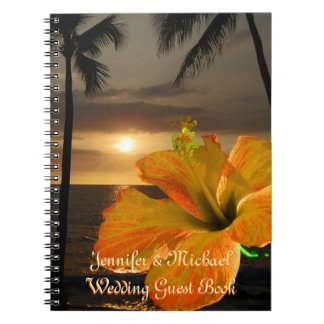 Palm Tree Hibiscus Tropical Wedding Guest Book Spiral Notebook