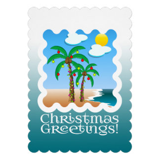 Palm Tree Holiday Lights Beach Christmas Card