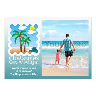 Palm Tree Holiday Lights Beach Christmas Photocard Card