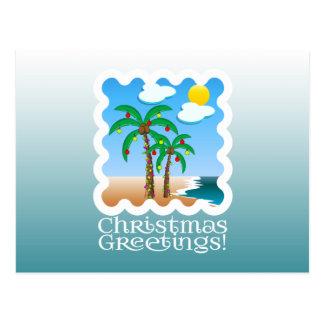 Palm Tree Holiday Lights Beach Christmas Postcard