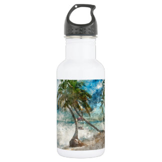Palm Tree in Ambergris Caye Belize Stainless Steel Water Bottle
