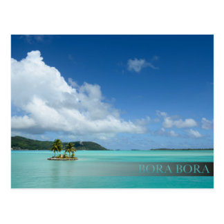 Palm tree in Bora Bora lagoon bar postcard