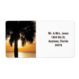 Palm tree in Florida sunset address label. Label