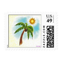 Palm Tree In The Sun Postage Stamps