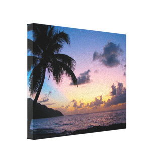 Palm Tree in the Sunset Canvas Prints