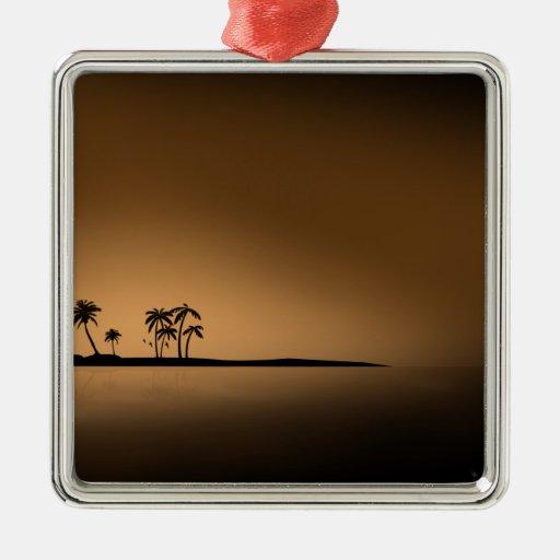 Palm-tree-island-sunset1432 GOLDEN PALM ISLAND SUN Christmas Ornaments