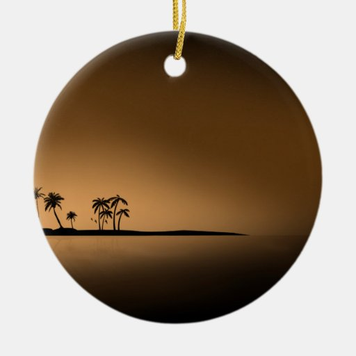 Palm-tree-island-sunset1432 GOLDEN PALM ISLAND SUN Ornaments