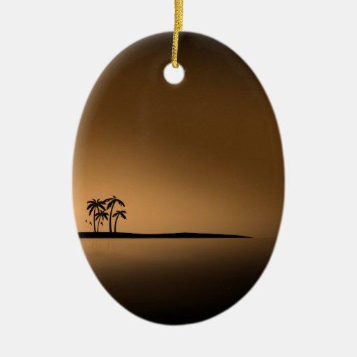 Palm-tree-island-sunset1432 GOLDEN PALM ISLAND SUN Christmas Tree Ornament