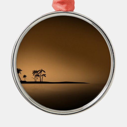 Palm-tree-island-sunset1432 GOLDEN PALM ISLAND SUN Christmas Ornament