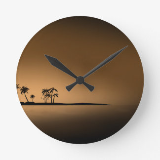 Palm-tree-island-sunset1432 GOLDEN PALM ISLAND SUN Round Clock