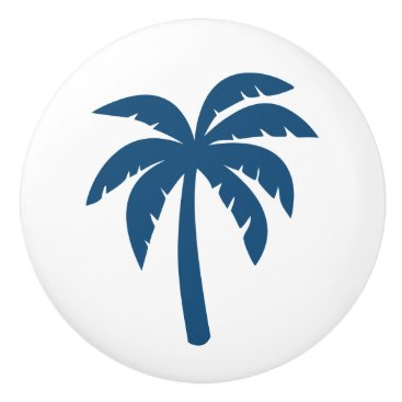 Beach Themed Palm Tree Knob Ceramic Pull In Blue Navy Ceramic Knob