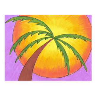 """Palm Tree Leaning into the Sunset"" Postcard"