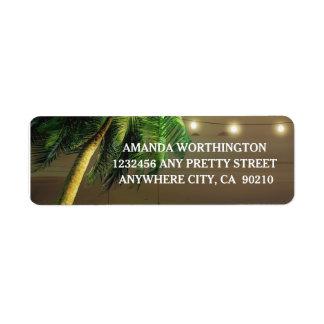 Palm Tree Lights Beach Wedding Address Labels