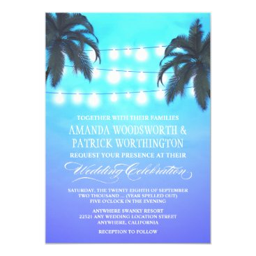 Beach Themed Palm Tree Lights Watercolor Wedding Invitations