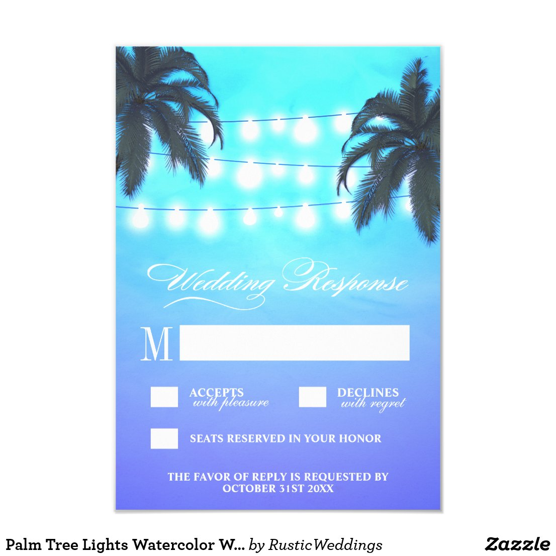 Palm Tree Lights Watercolor Wedding RSVP Cards