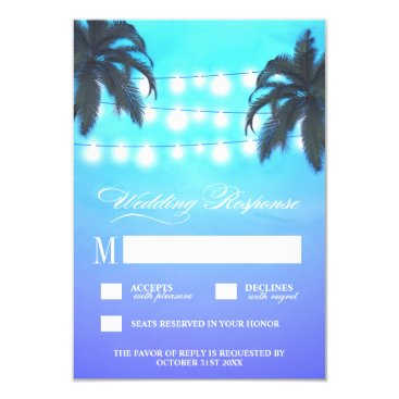 Beach Themed Palm Tree Lights Watercolor Wedding RSVP Cards