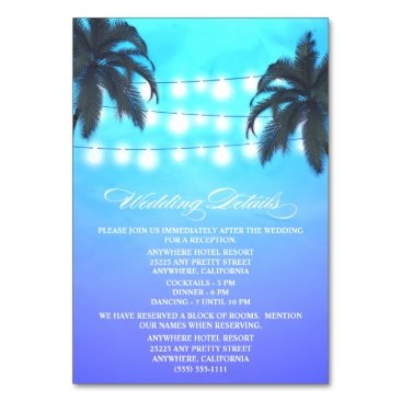 Beach Themed Palm Tree Lights Wedding Reception   Hotel Cards