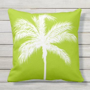 Beach Themed Palm Tree Lime Throw Pillow