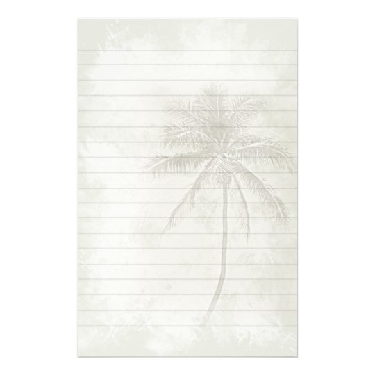 Palm Tree Lined Stationery - Sand Color
