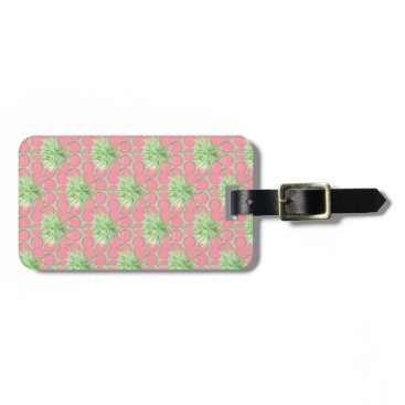 Beach Themed Palm Tree Luggage Tag- Pretty Pink Polka Dots Bag Tag