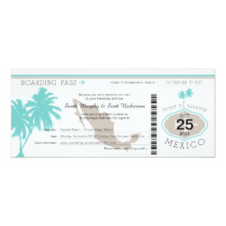 Palm Tree Mexico Boarding Pass Wedding Card