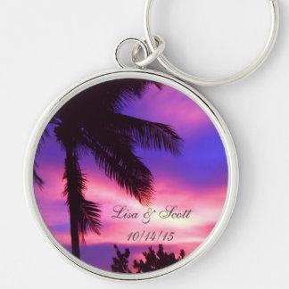 Palm Tree N Purple Sunset Customizable Key Chain