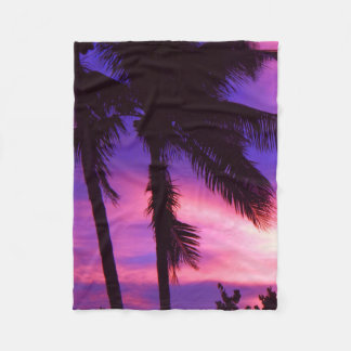 Palm Tree N Purple Sunset Fleece Blanket