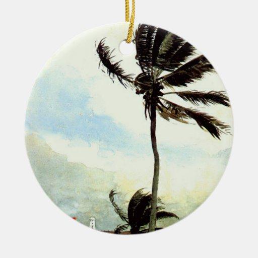 'Palm Tree-Nassau' Double-Sided Ceramic Round Christmas Ornament
