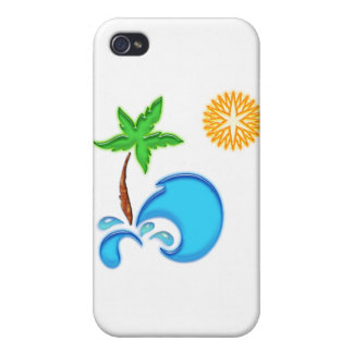 Palm Tree, Ocean and Sun iPhone 4/4S Covers