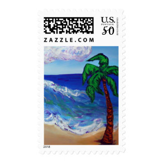 Palm Tree Ocean Beach Postage Stamp