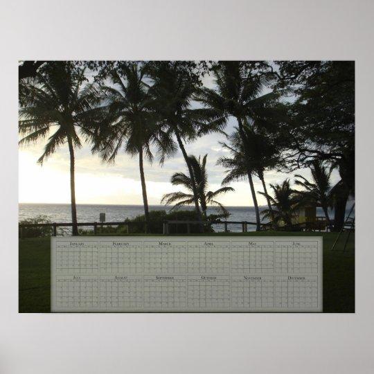 Palm Tree / Ocean Calendar (24X18) Poster