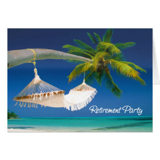 Palm Tree, Ocean & Hammock Retirement Party Cards